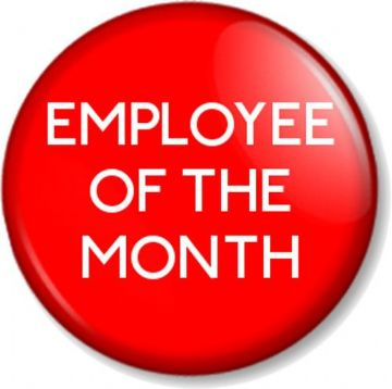 EMPLOYEE OF THE MONTH Pinback Button Badge Novelty Work Job Staff Reward RED